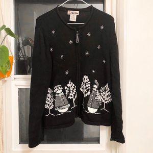 Black & White Snowman Full-Zip Sweater